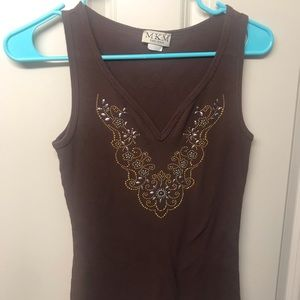 MKM brown tank top with beading